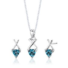 "Sterling Silver Trillion Cut London Blue Topaz Pendant Earrings and 18"" Necklace Set"