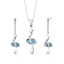 "Sterling Silver 2.00 Carats Pear Shape Swiss Blue Topaz Pendant Earrings and 18"" Necklace Set"