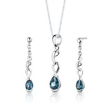 "Sterling Silver 1.75 Carats Pear Shape London Blue Topaz Pendant Earrings and 18"" Necklace Set"