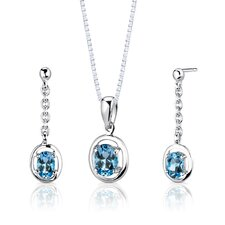 "Sterling Silver 1.75 Carats Oval Shape Swiss Blue Topaz Pendant Earrings and 18"" Necklace Set"