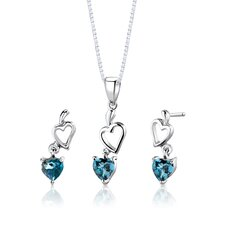 "Sterling Silver Heart Shape London Blue Topaz Pendant Earrings and 18"" Necklace Set"