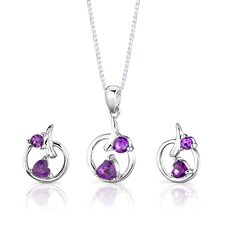 "Sterling Silver 0.88"" Multishape Gemstone Pendant Earrings and 18"" Necklace Set"
