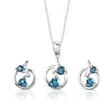 "Sterling Silver 0.88"" Multishape London Blue Topaz Pendant Earrings and 18"" Necklace Set"