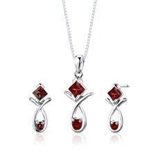 "Sterling Silver 2.00 Carats Multishape Garnet Pendant Earrings and 18"" Necklace Set"