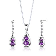 "Sterling Silver 1.50 Carat Round Shape Gemstone Pendant Earrings and 18"" Necklace Set"