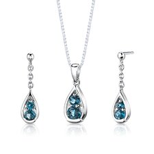 "Sterling Silver 1.50 Carats Round Shape London Blue Topaz Pendant Earrings and 18"" Necklace Set"