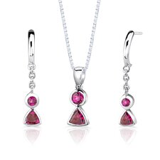 "Sterling Silver 1.25 Carat Multishape Gemstone Pendant Earrings and 18"" Necklace Set"