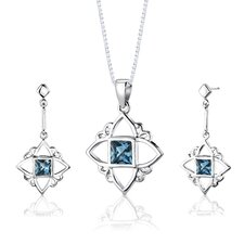 "Sterling Silver Princess Cut London Blue Topaz Pendant Earrings and 18"" Necklace Set"