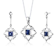 "Sterling Silver Princess Cut Gemstone Pendant Earrings and 18"" Necklace Set"