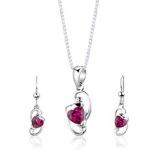 "<strong>Oravo</strong> Sterling Silver 2.00 Carats Heart Shape Ruby Pendant Earrings and 18"" Necklace Set"