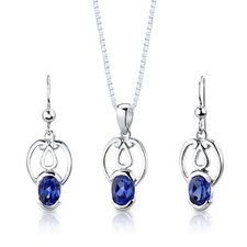 "Sterling Silver 2.25 Carats Oval Shape Sapphire Pendant Earrings and 18"" Necklace Set"