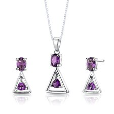 "Sterling Silver 1.13"" Multishape Gemstone Pendant Earrings and 18"" Necklace Set"