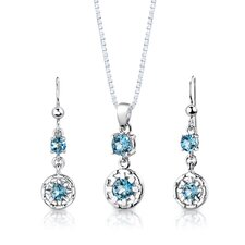 "Sterling Silver 2.50 Carats Round Shape Swiss Blue Topaz Pendant Earrings and 18"" Necklace Set"