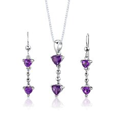 "Sterling Silver 1.25"" Heart Shape Gemstone Pendant Earrings and 18"" Necklace Set"