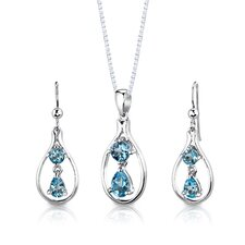 "Sterling Silver 3.00 Carats Multishape Swiss Blue Topaz Pendant Earrings and 18"" Necklace Set"