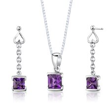 "Sterling Silver 2.00 Carats Princess Cut Amethyst Pendant Earrings and 18"" Necklace Set"