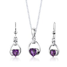 """Sterling Silver 1.75 Carats Heart Shape Amethyst Pendant Earrings and 18"""" Necklace Set"""