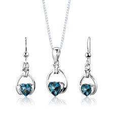 "Sterling Silver 2.25 Carats Heart Shape London Blue Topaz Pendant Earrings and 18"" Necklace Set"