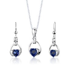 """Sterling Silver 1"""" Heart Shape Sapphire Pendant Earrings and 18"""" Necklace Set"""