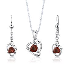 "<strong>Oravo</strong> Sterling Silver 2.00 Carats Trillion Cut Garnet Pendant Earrings and 18"" Necklace Set"