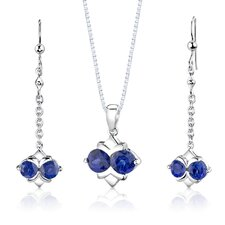 "<strong>Oravo</strong> Sterling Silver 4.00 Carats Round Shape Sapphire Pendant Earrings and 18"" Necklace Set"