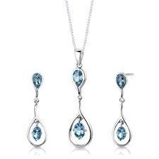"Sterling Silver 4.00 Carats Oval Shape Swiss Blue Topaz Pendant Earrings and 18"" Necklace Set"
