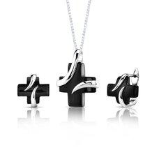 Inspired Celebration Sterling Silver Celebrity Inspired Black Onyx Cross Pendant and Earrings Set