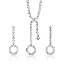 Brilliant Beauty Sterling Silver Lariat Tennis Necklace Earrings Set with White Cubic Zirconia