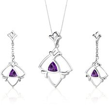 Artful Trillion Cut Sterling Silver Pendant Earrings Set