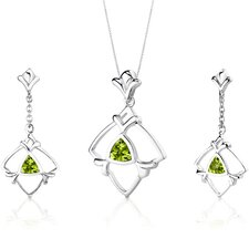 Artful 1.75 Carats Trillion Cut Sterling Silver Peridot Pendant Earrings Set