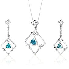 Artful 1.75 Carats Trillion Cut Sterling Silver London Blue Topaz Pendant Earrings Set