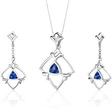 Artful 2.25 Carats Trillion Cut Sterling Silver Sapphire Pendant Earrings Set