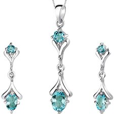 Oval Round Combination 2.75 Carats Sterling Silver Swiss Blue Topaz Pendant Earrings Set
