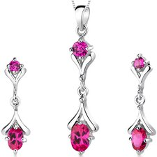 Oval Round Combination 2.00 Carats Sterling Silver Pendant Earrings Set