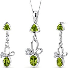 Dynamic 2.75 Carats Trillion and Oval Cut Sterling Silver Peridot Pendant Earrings Set