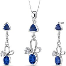 Dynamic 3.25 Carats Trillion and Oval Cut Sterling Silver Sapphire Pendant Earrings Set