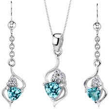 Classy 1.75 Carats Trillion Cut Sterling Silver Swiss Blue Topaz Pendant Earrings Set