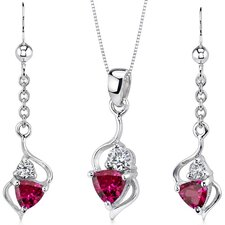 Classy 2.25 Carats Trillion Cut Sterling Silver Ruby Pendant Earrings Set