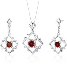 Floral Design 3.75 Carats Round Cut Sterling Silver Garnet Pendant Earrings Set