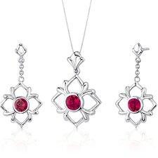 Floral Design Round Cut Sterling Silver Gemstone Pendant Earrings Set
