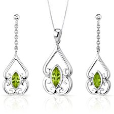 Ornate Style 2.5 Carats Marquise Cut Sterling Silver Peridot Pendant Earrings Set