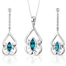 Ornate Style 2.75 Carats Marquise Cut Sterling Silver London Blue Topaz Pendant Earrings Set