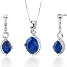 Museum Design 6 Carats Marquise Cut Sterling Silver Sapphire Pendant Earrings Set