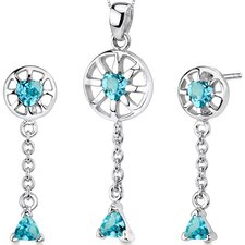Dainty 2 Carats Trillion Heart Shape Sterling Silver Swiss Blue Topaz Pendant Earrings Set