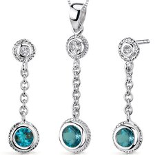 Bezel Set 1.25 Carats Round Shape Sterling Silver London Blue Topaz Pendant Earrings Set