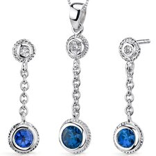 <strong>Oravo</strong> Bezel Set 1.5 Carats Round Shape Sterling Silver Sapphire Pendant Earrings Set