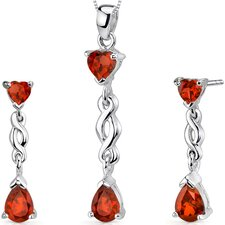 Enchanting Pear Heart Shape Sterling Silver Gemstone Pendant Earrings Set