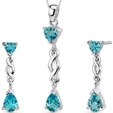 <strong>Oravo</strong> Enchanting 3.25 Carats Pear Heart Shape Sterling Silver Swiss Blue Topaz Pendant Earrings Set