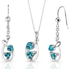Love Duet 2 Carats Trillion Heart Shape Sterling Silver London Blue Topaz Pendant Earrings Set