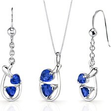 Love Duet 2.5 Carats Trillion Heart Shape Sterling Silver Sapphire Pendant Earrings Set